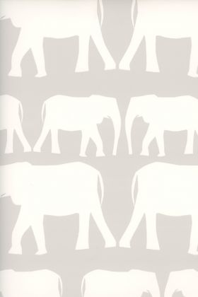detail image of Nell Wallpaper By Andrew Martin - Cloud white silhouettes of elephants on nude background