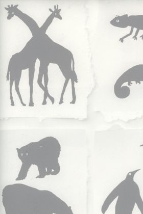 detail image of Two By Two Wallpaper By Andrew Martin - Cloud grey silhouettes of animals on white background