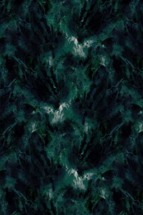 detail image of 17 Patterns Beyond Nebulous Wallpaper - Green/Blue - ROLL black and green marble effect repeated pattern