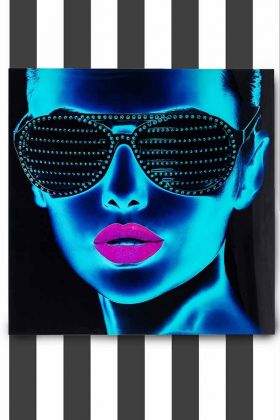 Framed Electric Blue Tough Girl Electronic Art Print