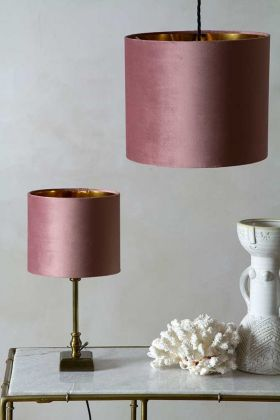 Image of both the sizes available for the Blush Pink Velvet Lamp Shade on a lamp & a ceiling light
