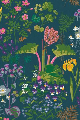 detail image of BorasTapeter Scandinavian Designers II Wallpaper - Rabarber - Teal 1791 - ROLL bright coloured flowers and pink rhubarb with green leaves on teal background repeated pattern