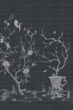 Chinoiserie Tile Wallpaper Mural - Meihua Coal 7900052 - MURAL