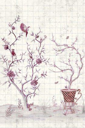 Chinoiserie Tile Wallpaper Mural - Meihua Goji 7900051 - MURAL