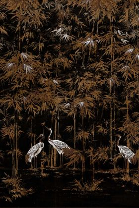 Chinoiserie Wallpaper Mural - Garzas Coal 7900003 - MURAL