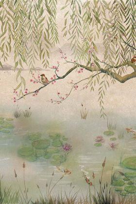 Chinoiserie Wallpaper Mural - Lotus Aloe 7900040 - MURAL