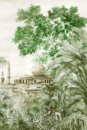 Chinoiserie Wallpaper Mural - Taj Mahal Aloe 7900121 - MURAL