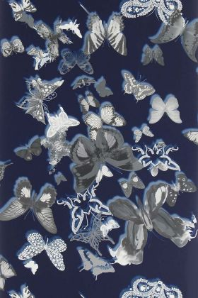 detail image of Christian Lacroix Butterfly Parade Wallpaper - Cobalt PCL008/07 - ROLL grey butterflies on dark blue background repeated pattern