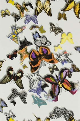 Close-up detail image of the Christian Lacroix Butterfly Parade Wallpaper multicoloured butterflies on pale background