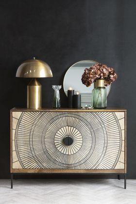 Lifestyle image of the Circle Design Mango Wood Sideboard Cabinet