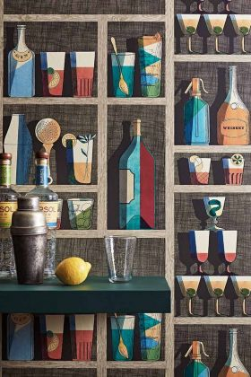Close-up lifestyle image of the Cocktails Wallpaper by Cole & Son