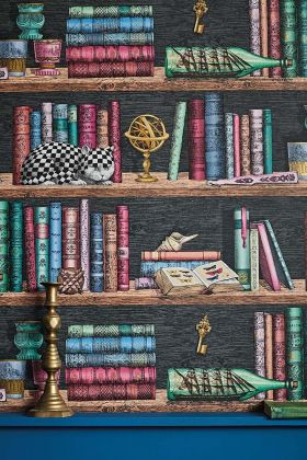 Close-up lifestyle image of the Libreria Wallpaper by Cole & Son