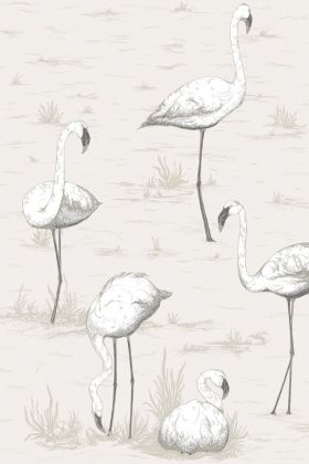 Close-up detail image of Cole & Son Contemporary Restyled - Flamingos Wallpaper - White on Pink white flamingos on nude background