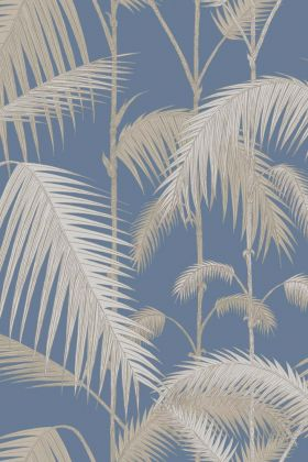 cutout Image of Cole & Son Contemporary Restyled - Palm Jungle Wallpaper - Blue Ground & Grit neautral coloured pale leaves on a blue toned background