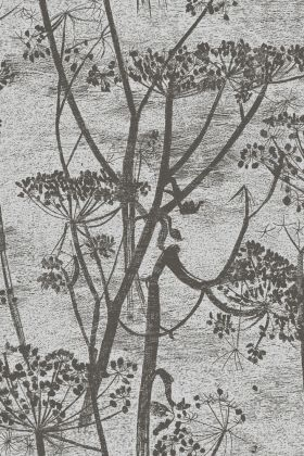 detail image of Cole & Son Contemporary Restyled - Cow Parsley Wallpaper - Gilver on Black 95/9050 - ROLL black and grey toned floral repeated pattern