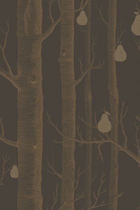 detail image of Cole & Son Contemporary Restyled - Woods & Pears Wallpaper - Gold on Linen 95/5028 - ROLL gold trunks and pears on dark grey background repeated pattern
