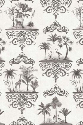 detail image of Cole & Son Folie Collection - Rousseau Wallpaper - Charcoal 99/9039 - ROLL dark grey palm trees and oriental style border repeated pattern