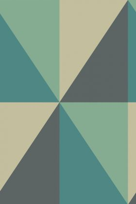 Close-up detail image of the Cole & Son Geometric II - Apex Grand Wallpaper - Teal blue grey and nude triangle repeated pattern