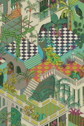 detail image of Cole & Son Geometric II - Miami Wallpaper - Green & Coral 105/4017 - ROLL 3d effect houses with plants repeated patern