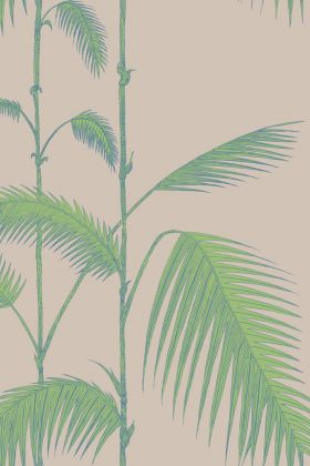detail image of Cole & Son New Contemporary - Palm Leaves Wallpaper - Green on Beige 66/2011 - ROLL green palm leaves on stems with nude background repeated pattern