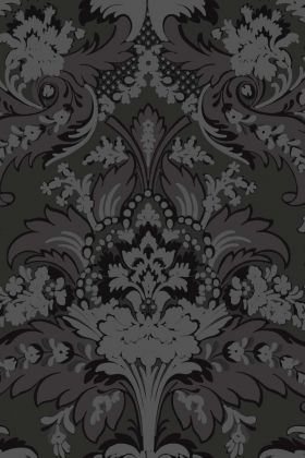 detail image of Cole & Son The Albemarle Collection - Aldwych Wallpaper - Charcoal 94/5030 - ROLL black and grey toned floral repeated pattern