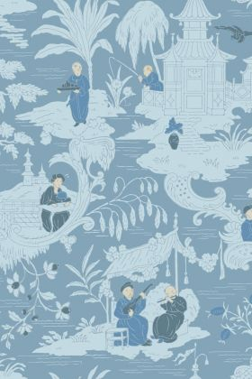 detail image of Cole & Son The Archive Anthology - Chinese Toile Wallpaper - Blue 100/8038 - ROLL blue Chinese scene repeated pattern