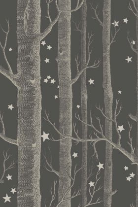 detail image of Cole & Son Whimsical Collection - Colour Woods & Stars Wallpaper - Charcoal 103/11053 - ROLL white trees and small stars on dark grey background