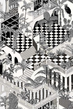 Cole & Son Icons Collection - Miami Wallpaper - Black & White 112/6024 - ROLL