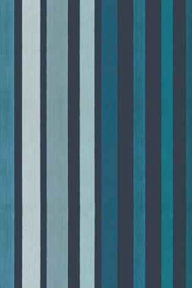 detail image of Cole & Son Marquee Stripes Collection - Carousel Stripe Wallpaper - Inky Blue 110/9042 - ROLL blue toned vertical stripes repeated pattern