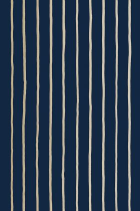 detail image of Cole & Son Marquee Stripes Collection - College Stripe Wallpaper - Blue 110/7037 - ROLL white pin stripes on dark blue background repeated pattern