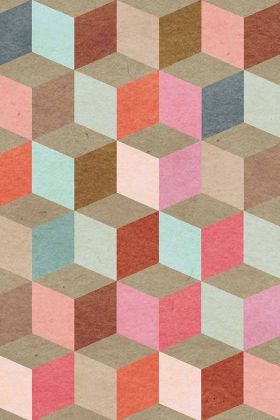 cutout Image of Mind The Gap Coloured Geometry Wallpaper pinks and blues and neutral coloured cube pattern