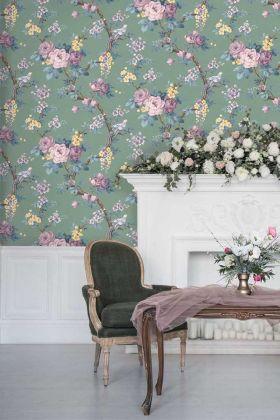 Dawn Chorus Wallpaper by Pearl Lowe - Forest Green WM-203 - ROLL
