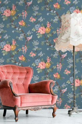 Dawn Chorus Wallpaper by Pearl Lowe - Ink Blue WM-205 - ROLL