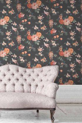 Dawn Chorus Wallpaper by Pearl Lowe - Noir Black WM-206 - ROLL