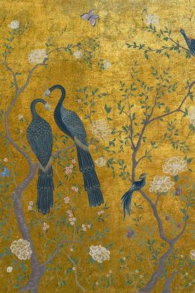 detail image of Edo Mural Design Wallpaper Panel - Gold - ROLL grey birds and branches with white flowers on gold background