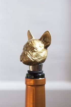 Image of the Gold Bulldog Bottle Stopper in a bottle