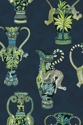 detail image of Cole & Son - The Ardmore Collection - Khulu Vases - 190/12058 cool toned jungle style vases repeated pattern on dark blue background