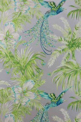 detail image of Matthew Williamson Birds of Paradise Wallpaper - Jade W6655-04 - ROLL blue birds and green plants on grey background