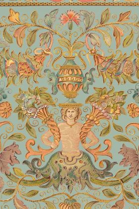Close-up detail image of the powder version of the Brocade wallpaper colorful pattern with merman, plants and flowers on blue background