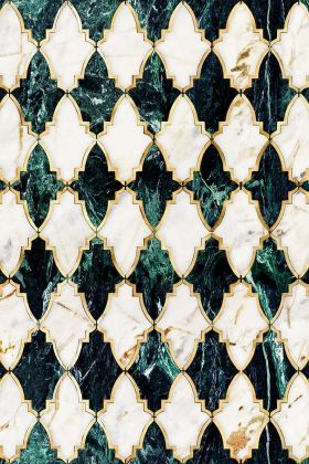 Close-up detail image of the Empire Emerald Metallic Edition wallpaper green and marble harlequin pattern with gold outline