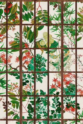 Close-up detail image of the natural version of the Japanese Garden wallpaper green and pink foliage and plants behind brown crittal style pattern