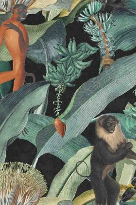 detail image of Mind The Gap The Rediscovered Paradise - Bermuda Wallpaper - WP20162 - ROLL jungle animals and green leaves on dark background