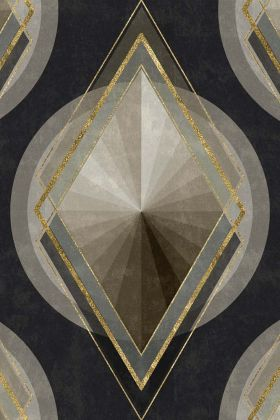 detail image of Mind The Gap Metropolis Collection - Metropolis Wallpaper - WP20228 - ROLL black grey and gold 20s style diamond and circle repeated pattern