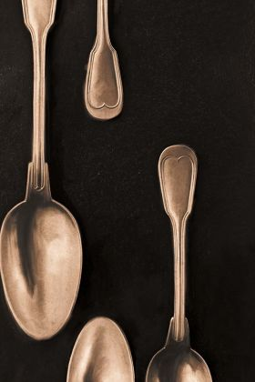 detail image of Mind The Gap The Antiquerian - Cutlery Wallpaper - Copper WP20247 - ROLL gold spoons on black background repeated pattern