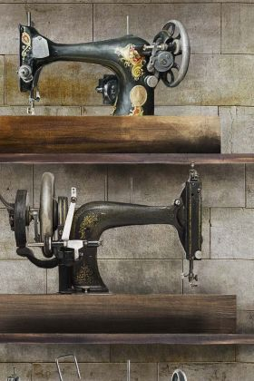 detail image of Mind The Gap The Factory Collection - The Machinist Wallpaper - WP20245 - ROLL vintage distressed sewing machines on grey tiled background repeated pattern