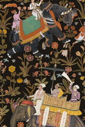 detail image of Mind The Gap The Mysterious Traveler - Hindustan Wallpaper - Anthercite WP20256 - ROLL oriental style men riding elephants with flowers on dark background repeated pattern