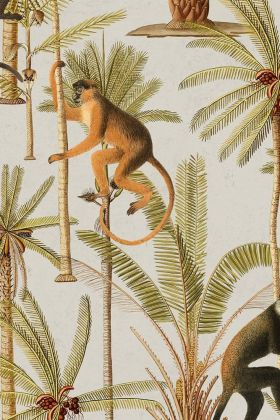 detail image of Mind The Gap The Rediscovered Paradise - Barbados Wallpaper - WP20161 - ROLL brown and orange toned monkeys with green palm trees with brown trunks on grey background repeated pattern