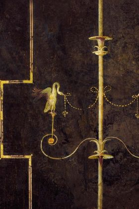 detail image of Mind The Gap The World Of Antiquity - The Swan Wallpaper - Dark WP20200 - ROLL gold swans and geometric lines on purple background repeated pattern