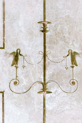 detail image of Mind The Gap The World Of Antiquity - The Swan Wallpaper - WP20199 - ROLL gold swans and geometric lines on distressed white background repeated pattern