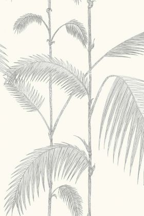 Cole & Son Contemporary Restyled - Palm Wallpaper - Soft Grey on White 95/1008 - ROLL